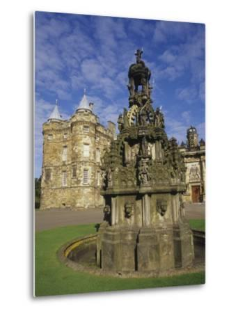 Fountain on the Grounds of Holyroodhouse Palace, Edinburgh, Scotland-Christopher Bettencourt-Metal Print