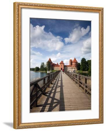 Island Castle on Lake Galve, Trakai Historical National Park, Trakai, Lithuania-Walter Bibikow-Framed Photographic Print
