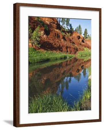 Red Bluffs on the Belle Fourche River Near Devil's Tower National Monument, Wyoming, Usa-Larry Ditto-Framed Photographic Print