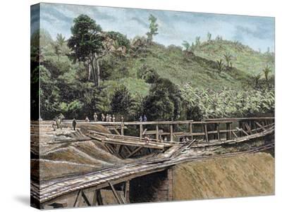 Construction of the Panama Canal. Works in Bridge Called 'Alto-Obispo'-Prisma Archivo-Stretched Canvas Print