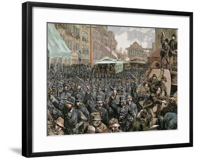 Police Officers Dispersing the Strike of Employees of Streetcar in New York, Usa, March 4, 1886-Prisma Archivo-Framed Photographic Print