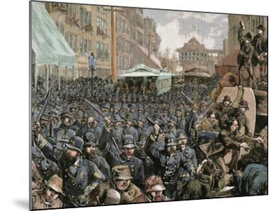 Police Officers Dispersing the Strike of Employees of Streetcar in New York, Usa, March 4, 1886-Prisma Archivo-Mounted Photographic Print
