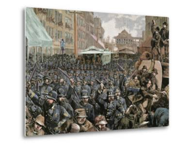 Police Officers Dispersing the Strike of Employees of Streetcar in New York, Usa, March 4, 1886-Prisma Archivo-Metal Print