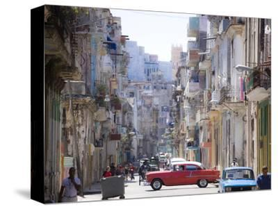 View Along Congested Street in Havana Centro, Cuba-Lee Frost-Stretched Canvas Print