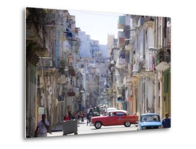 View Along Congested Street in Havana Centro, Cuba-Lee Frost-Metal Print