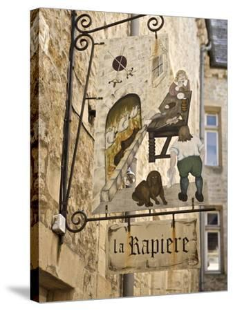 Inn Sign in the Old Town, Bayeux, Calvados, Normandy, France, Europe-Guy Thouvenin-Stretched Canvas Print