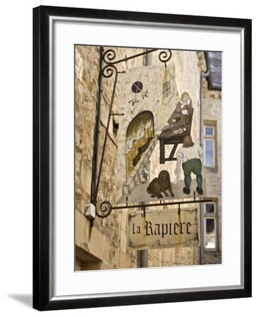 Inn Sign in the Old Town, Bayeux, Calvados, Normandy, France, Europe-Guy Thouvenin-Framed Photographic Print