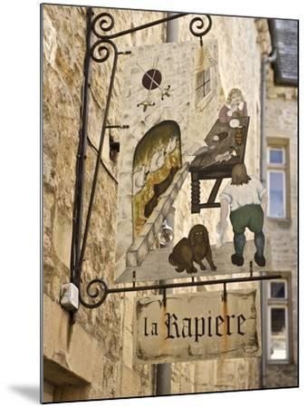 Inn Sign in the Old Town, Bayeux, Calvados, Normandy, France, Europe-Guy Thouvenin-Mounted Photographic Print