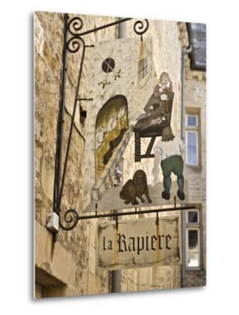 Inn Sign in the Old Town, Bayeux, Calvados, Normandy, France, Europe-Guy Thouvenin-Metal Print