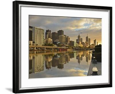 Sunrise, Melbourne Central Business District (Cbd) and Yarra River, Melbourne, Victoria, Australia-Jochen Schlenker-Framed Photographic Print