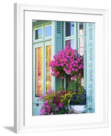Window With Flowers, France, Europe-Guy Thouvenin-Framed Photographic Print