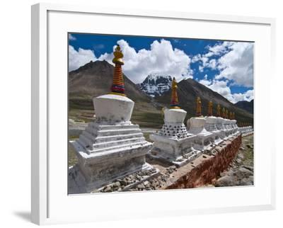 Chortens, Prayer Stupas Below the Holy Mountain Mount Kailash in Western Tibet, China, Asia-Michael Runkel-Framed Photographic Print
