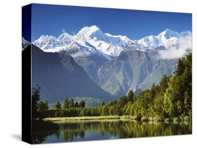 Lake Matheson, Mount Tasman and Mount Cook, Westland Tai Poutini National Park, New Zealand-Jochen Schlenker-Stretched Canvas Print