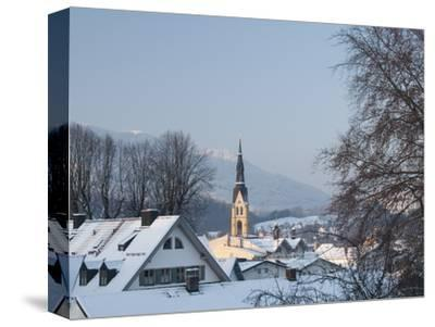 Bad Tolz Spa Town Covered By Snow at Sunrise, Bavaria, Germany-Richard Nebesky-Stretched Canvas Print
