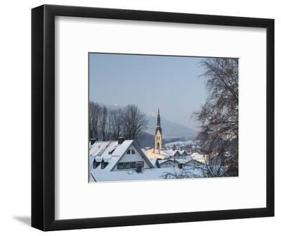 Bad Tolz Spa Town Covered By Snow at Sunrise, Bavaria, Germany-Richard Nebesky-Framed Photographic Print