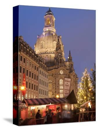 Christmas Market Stalls in Front of Frauen Church and Christmas Tree at Twilight, Dresden-Richard Nebesky-Stretched Canvas Print