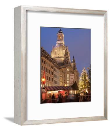 Christmas Market Stalls in Front of Frauen Church and Christmas Tree at Twilight, Dresden-Richard Nebesky-Framed Photographic Print