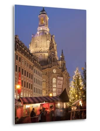 Christmas Market Stalls in Front of Frauen Church and Christmas Tree at Twilight, Dresden-Richard Nebesky-Metal Print