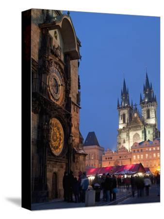 Astronomical Clock of Gothic Old Town Hall, Stalls of Christmas Market, Prague-Richard Nebesky-Stretched Canvas Print