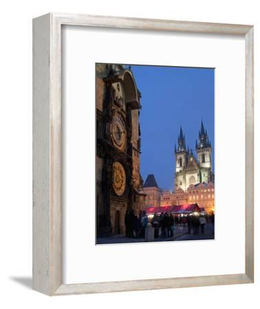 Astronomical Clock of Gothic Old Town Hall, Stalls of Christmas Market, Prague-Richard Nebesky-Framed Photographic Print