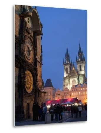 Astronomical Clock of Gothic Old Town Hall, Stalls of Christmas Market, Prague-Richard Nebesky-Metal Print