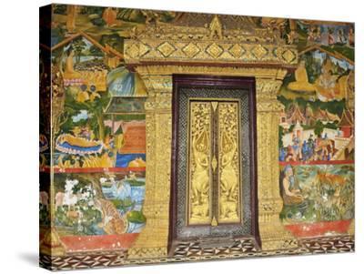 Wall Painting of the Life of Buddha, Ban Xieng Muan, Luang Prabang, Laos, Indochina, Southeast Asia-Jochen Schlenker-Stretched Canvas Print
