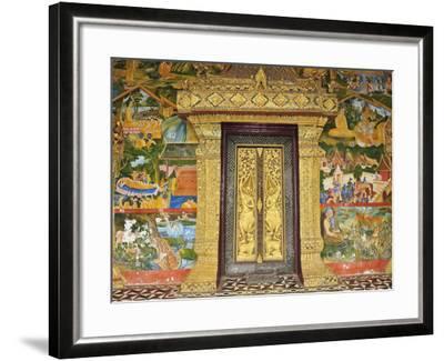 Wall Painting of the Life of Buddha, Ban Xieng Muan, Luang Prabang, Laos, Indochina, Southeast Asia-Jochen Schlenker-Framed Photographic Print