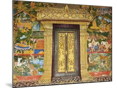 Wall Painting of the Life of Buddha, Ban Xieng Muan, Luang Prabang, Laos, Indochina, Southeast Asia-Jochen Schlenker-Mounted Photographic Print