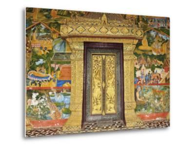 Wall Painting of the Life of Buddha, Ban Xieng Muan, Luang Prabang, Laos, Indochina, Southeast Asia-Jochen Schlenker-Metal Print
