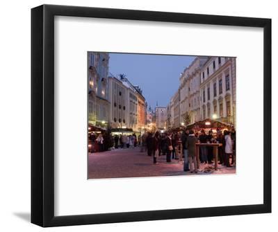 Stalls and People at Christmas Market, Stadtplatz, Steyr, Oberosterreich (Upper Austria)-Richard Nebesky-Framed Photographic Print