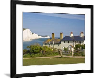 View of the Seven Sisters Cliffs, the Coastguard Cottages on Seaford Head, East Sussex-Neale Clarke-Framed Photographic Print