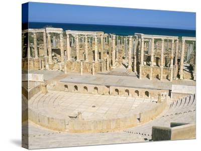 Theatre, Leptis Magna, UNESCO World Heritage Site, Tripolitania, Libya, North Africa, Africa-Sergio Pitamitz-Stretched Canvas Print
