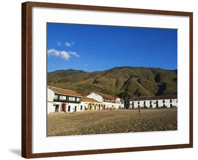 Plaza Mayor, Largest Public Square in Colombia, Colonial Town of Villa De Leyva, Colombia-Christian Kober-Framed Photographic Print