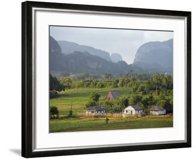 Farm Houses and Mountains, Vinales Valley, Cuba, West Indies, Caribbean, Central America-Christian Kober-Framed Photographic Print