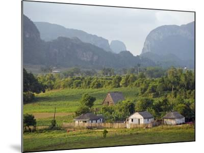 Farm Houses and Mountains, Vinales Valley, Cuba, West Indies, Caribbean, Central America-Christian Kober-Mounted Photographic Print