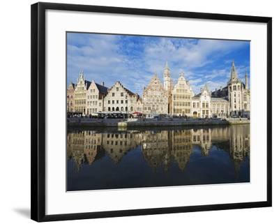 Reflection of Waterfront Town Houses, Ghent, Flanders, Belgium, Europe-Christian Kober-Framed Photographic Print