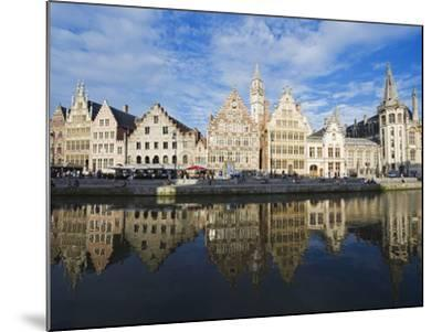 Reflection of Waterfront Town Houses, Ghent, Flanders, Belgium, Europe-Christian Kober-Mounted Photographic Print