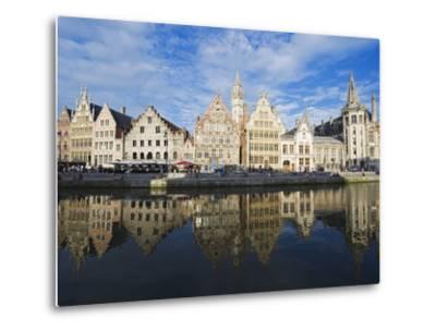 Reflection of Waterfront Town Houses, Ghent, Flanders, Belgium, Europe-Christian Kober-Metal Print