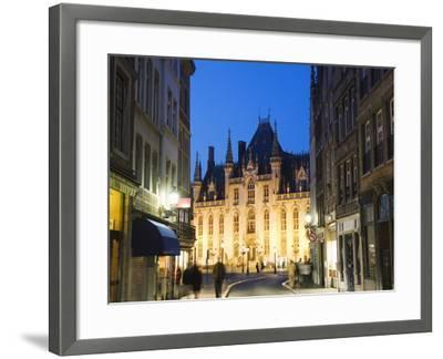 Neo-Gothic Post Office; Market Square Illuminated at Night, UNESCO World Heritage Site, Bruges-Christian Kober-Framed Photographic Print