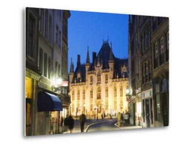 Neo-Gothic Post Office; Market Square Illuminated at Night, UNESCO World Heritage Site, Bruges-Christian Kober-Metal Print