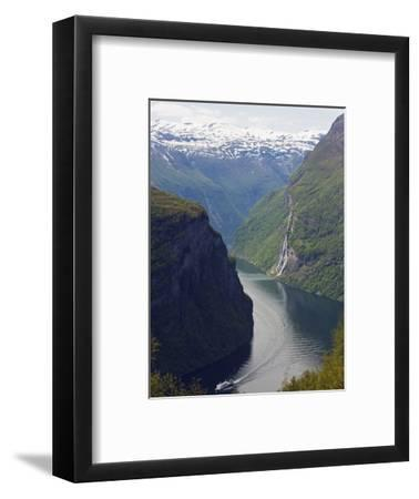Tourist Cruise Ship on Geiranger Fjord, Western Fjords, Norway, Scandinavia, Europe-Christian Kober-Framed Photographic Print