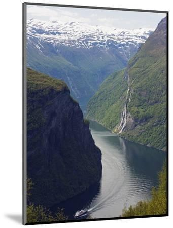 Tourist Cruise Ship on Geiranger Fjord, Western Fjords, Norway, Scandinavia, Europe-Christian Kober-Mounted Photographic Print