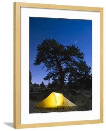 Tent Illuminated Under the Night Sky, Rocky Mountain National Park, Colorado, USA-Christian Kober-Framed Photographic Print