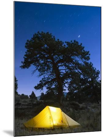 Tent Illuminated Under the Night Sky, Rocky Mountain National Park, Colorado, USA-Christian Kober-Mounted Photographic Print