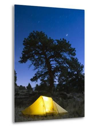 Tent Illuminated Under the Night Sky, Rocky Mountain National Park, Colorado, USA-Christian Kober-Metal Print