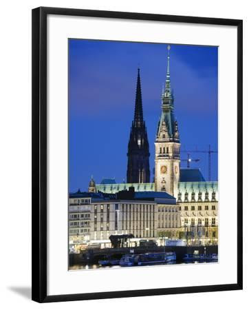 City Illuminated at Night on Lake Binnenalster, Hamburg, Germany, Europe-Christian Kober-Framed Photographic Print