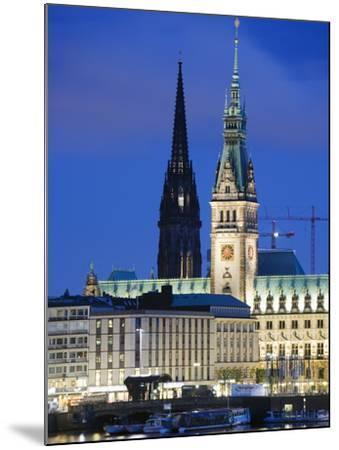 City Illuminated at Night on Lake Binnenalster, Hamburg, Germany, Europe-Christian Kober-Mounted Photographic Print