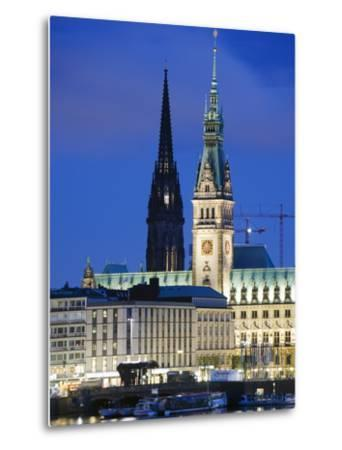 City Illuminated at Night on Lake Binnenalster, Hamburg, Germany, Europe-Christian Kober-Metal Print