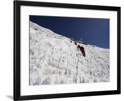 Climbers on An Ice Wall, Island Peak 6189M, Sagarmatha National Park, Himalayas-Christian Kober-Framed Photographic Print