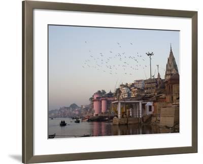 The Ganges River and Ghats of Varanasi, Uttar Pradesh, India, Asia--Framed Photographic Print